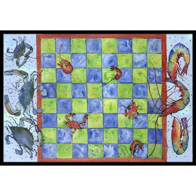Crab and Shrimp Checkerboard Doormat Rug Size: Rectangle 16 x 2 3