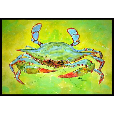 Bright Green Crab Doormat Mat Size: Rectangle 16 x 2 3