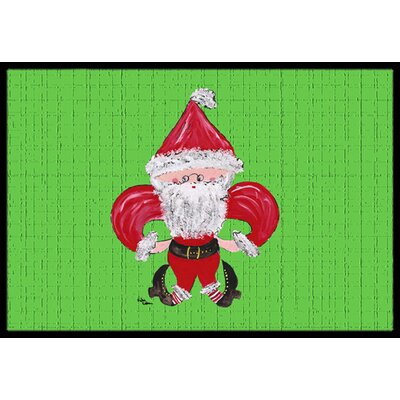 Christmas Fleur De Lis Santa Claus Doormat Mat Size: Rectangle 2 x 3