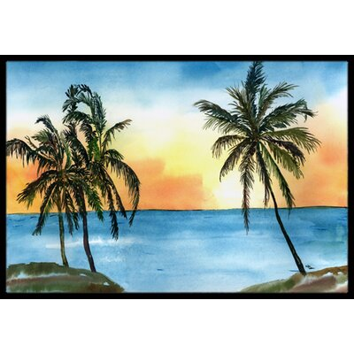 Palm Tree Doormat Rug Size: Rectangle 16 x 2 3