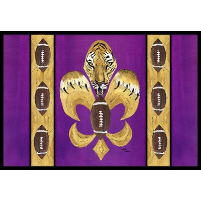 Tiger Football Fleur De Lis Doormat Mat Size: Rectangle 16 x 2 3