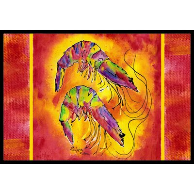 Bright Shrimp on Doormat Rug Size: Rectangle 16 x 2 3