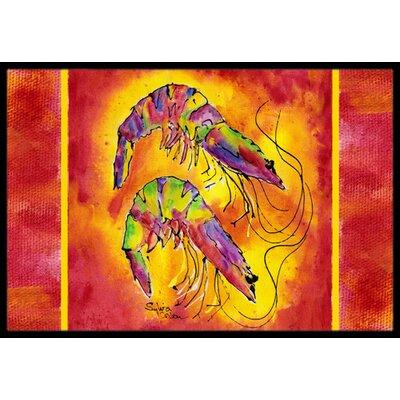 Bright Shrimp on Doormat Mat Size: Rectangle 16 x 2 3