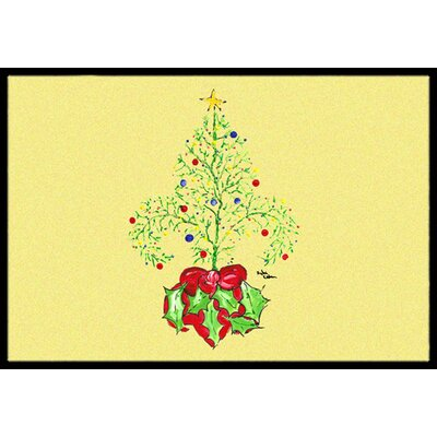 Christmas Tree Fleur De Lis Doormat Mat Size: Rectangle 16 x 2 3