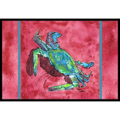 Crab on Red Background Doormat Mat Size: Rectangle 16 x 2 3