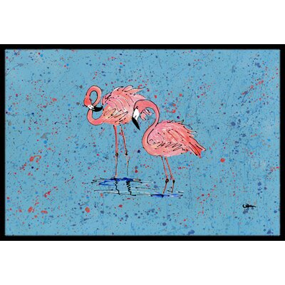 Flamingo on Speckle Doormat Mat Size: Rectangle 16 x 2 3