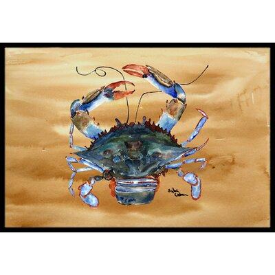 Crab on Sandy Doormat Mat Size: Rectangle 16 x 2 3