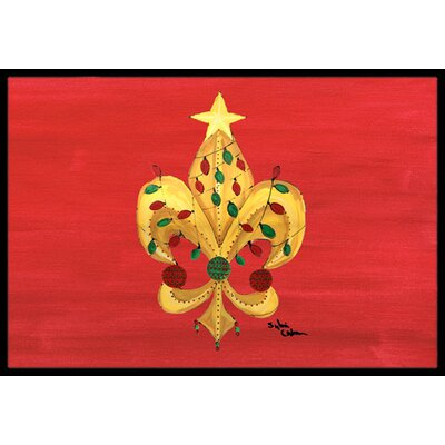 Christmas Fleur De Lis Tree with Lights Doormat Rug Size: 2 x 3