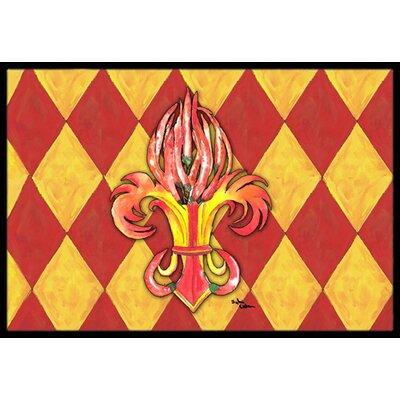 Peppers Fleur De Lis Doormat Rug Size: 16 x 2 3