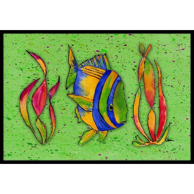 Tropical Fish on Green Doormat Rug Size: 2 x 3