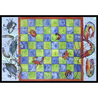 Crab and Shrimp Checkerboard Doormat Rug Size: 2 x 3