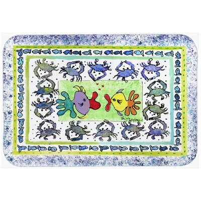 Fish Kissing Fish Kitchen/Bath Mat Size: 24 H x 36 W x 0.25 D