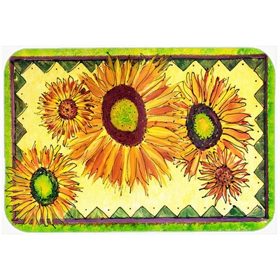 Flower Sunflower Kitchen/Bath Mat Size: 24 H x 36 W x 0.25 D