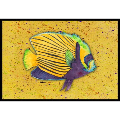 Tropical Fish on Mustard Doormat Rug Size: 2 x 3