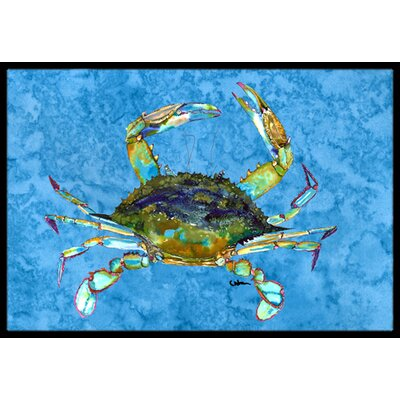Crab on Blue Background Doormat Rug Size: 16 x 2 3