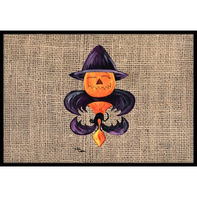 Halloween Pumpkin Bat Fleur De Lis Doormat Mat Size: Rectangle 2 x 3