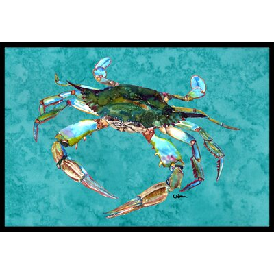 Teal with Crab Doormat Rug Size: 2 x 3