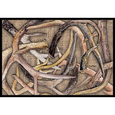 Deer Horns Doormat Mat Size: Rectangle 16 x 2 3