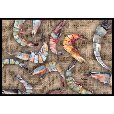 Burlap and Shrimp Doormat Mat Size: Rectangle 16 x 2 3