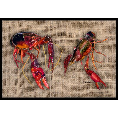 Burlap and Craw Fish Doormat Rug Size: 2 x 3