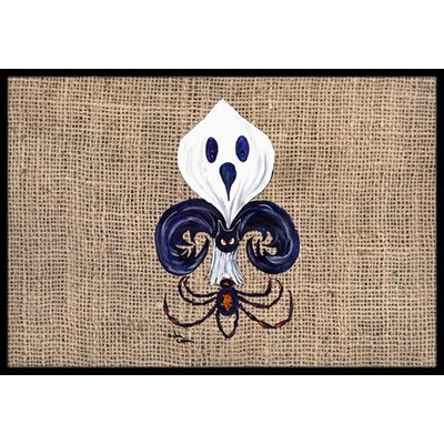 Halloween Ghost Spider Bat Fleur De Lis Doormat Mat Size: Rectangle 16 x 2 3