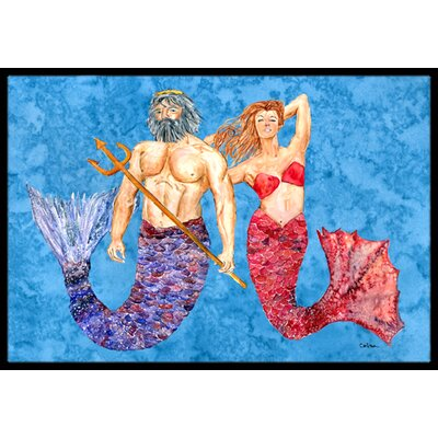 Mermaid and Merman Doormat Mat Size: Rectangle 2' x 3'