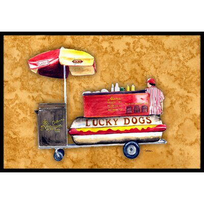 Lucky Dog Hot Dog Cart Doormat Rug Size: 2 x 3