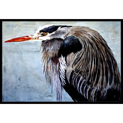 Heron at Doormat Mat Size: Rectangle 16 x 2 3