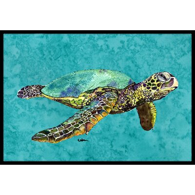 Swimming Logggerhead Turtle Doormat Rug Size: Rectangle 2 x 3