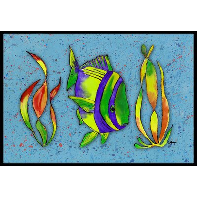 Tropical Fish on Doormat Mat Size: Rectangle 2 x 3
