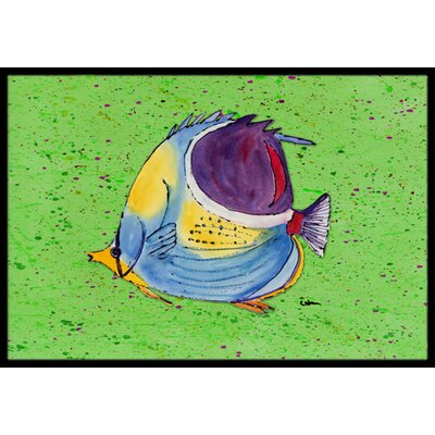 Tropical Fish on Green Doormat Mat Size: Rectangle 2 x 3