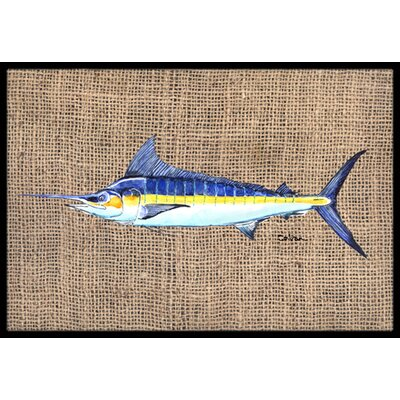 Marlin Fish Doormat Rug Size: 2 x 3