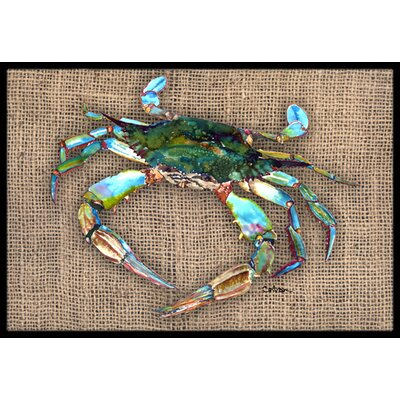 Crab on Brown Background Doormat Rug Size: 16 x 2 3
