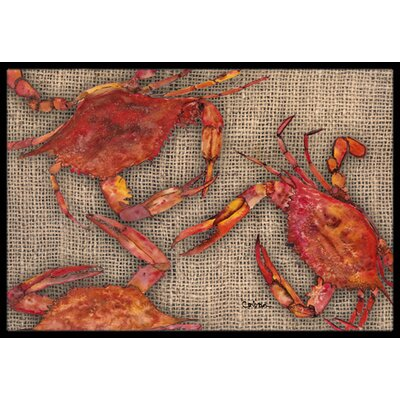 Cooked Crabs on Faux Burlap Doormat Mat Size: Rectangle 2 x 3