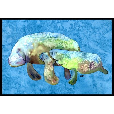 Momma and Baby Manatee Doormat Mat Size: Rectangle 16 x 2 3
