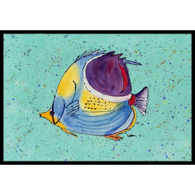 Tropical Fish on Teal Doormat Rug Size: 2 x 3