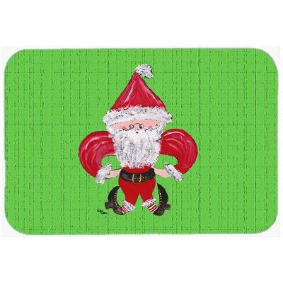 Christmas Fleur De Lis Santa Claus Kitchen/Bath Mat Size: 20 H x 30 W x 0.25 D