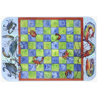Crab and Shrimp Checkerboard Kitchen/Bath Mat Size: 20 H x 30 W x 0.25 D