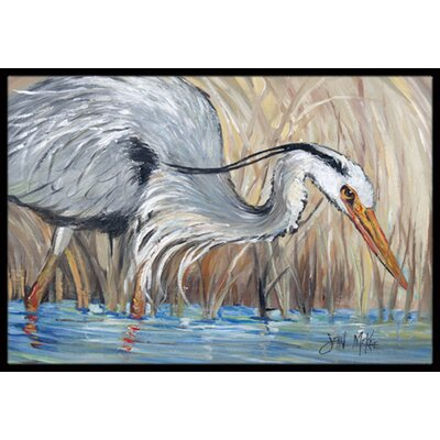 Heron in the Reeds Doormat Mat Size: Rectangle 16 x 2 3
