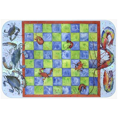 Crab and Shrimp Checkerboard Kitchen/Bath Mat Size: 24 H x 36 W x 0.25 D