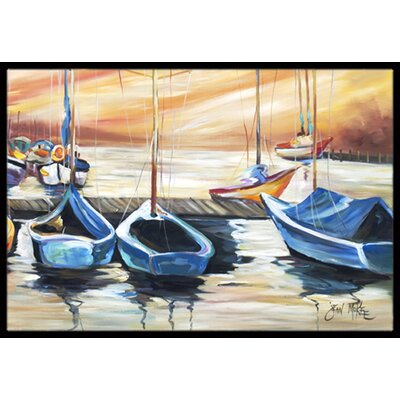 Beach View with Sailboats Doormat Mat Size: Rectangle 2 x 3