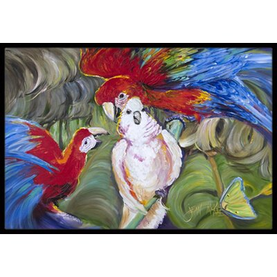 Menage-A-Trois Parrots Doormat Mat Size: Rectangle 16 x 2 3