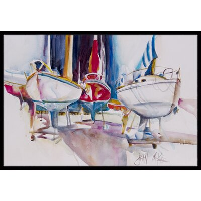 Sailboats in Dry Dock Doormat Mat Size: Rectangle 16 x 2 3