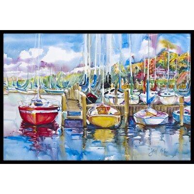 Paradise Yacht Club Sailboats Doormat Rug Size: 16 x 2 3