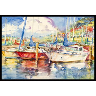 Three Boats Sailboats Doormat Rug Size: Rectangle 2 x 3
