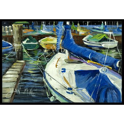 Night on the Docks Sailboat Doormat Mat Size: Rectangle 2 x 3