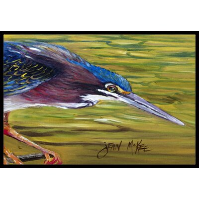 Green Heron Doormat Mat Size: Rectangle 16 x 2 3