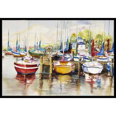 Paradise Yacht Club Ii Sailboats Doormat Mat Size: Rectangle 16 x 2 3