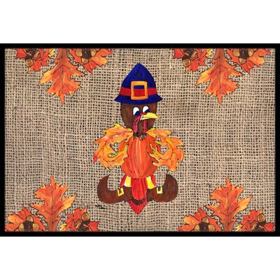 Thanksgiving Turkey Pilgrim Fleur De Lis Doormat Mat Size: Rectangle 2 x 3