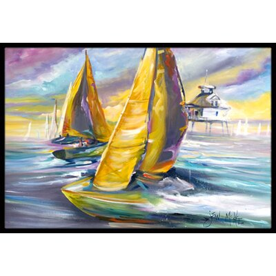 Sailboat with Middle Bay Lighthouse Doormat Rug Size: 2 x 3